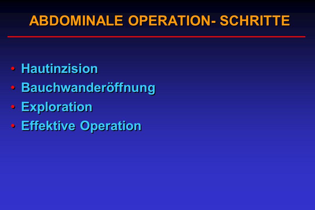 ABDOMINALE OPERATION- SCHRITTE Hautinzision Bauchwanderöffnung Exploration Effektive Operation Hautinzision Bauchwanderöffnung Exploration Effektive O
