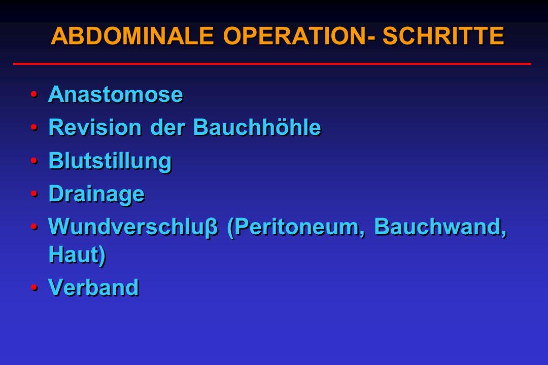 ABDOMINALE OPERATION- SCHRITTE Anastomose Revision der Bauchhöhle Blutstillung Drainage Wundverschluβ (Peritoneum, Bauchwand, Haut) Verband Anastomose