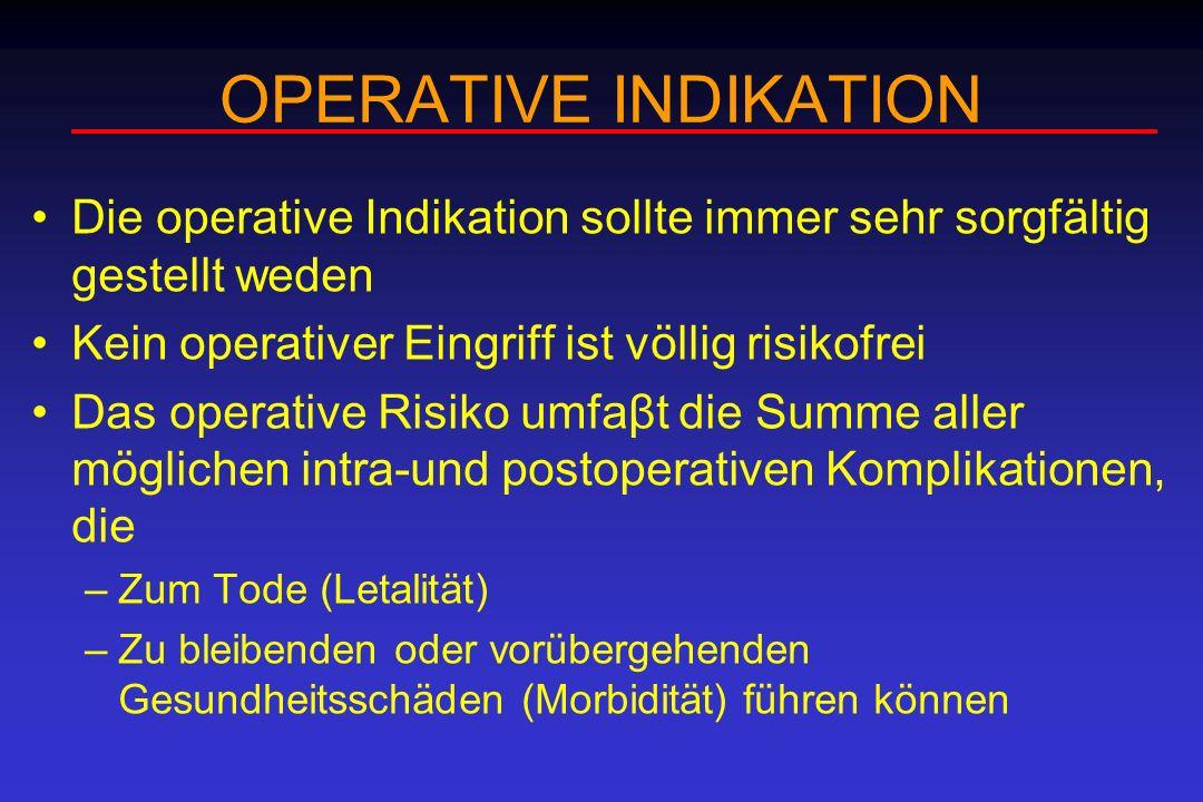 OPERATIVE INDIKATION Die operative Indikation sollte immer sehr sorgfältig gestellt weden Kein operativer Eingriff ist völlig risikofrei Das operative
