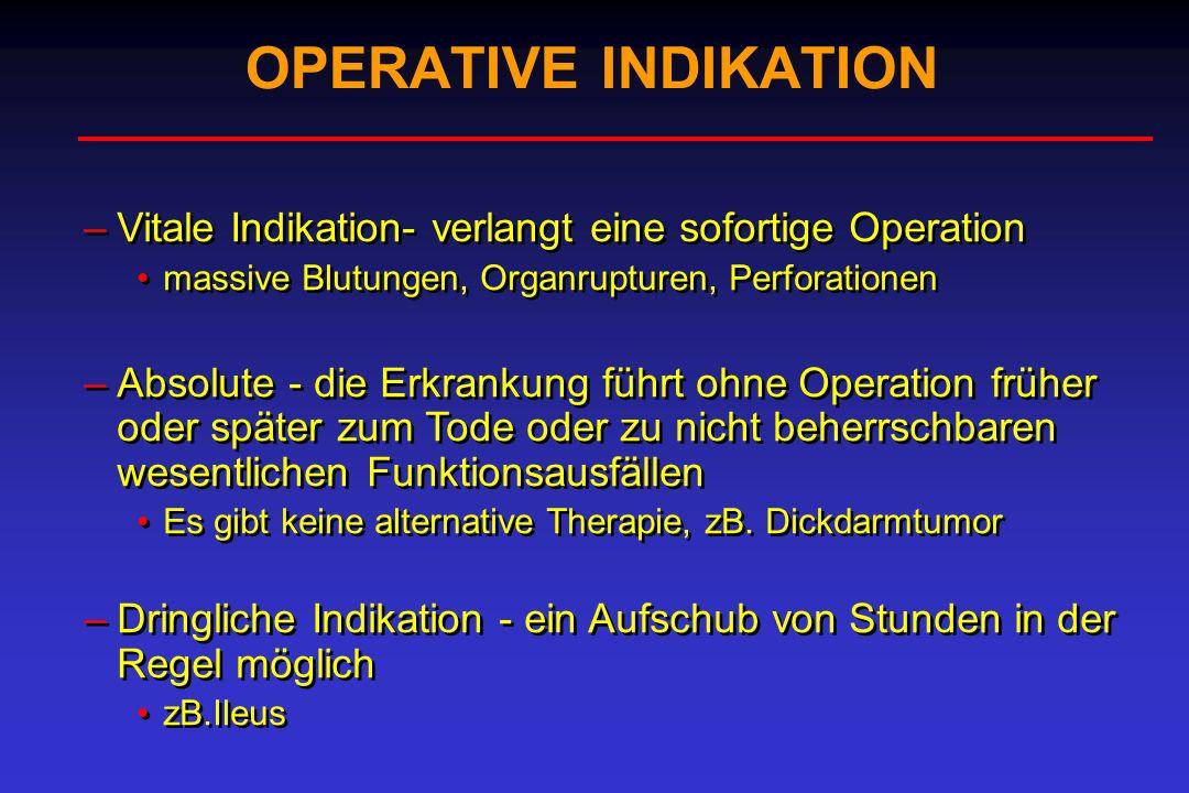 OPERATIVE INDIKATION –Vitale Indikation- verlangt eine sofortige Operation massive Blutungen, Organrupturen, Perforationen –Absolute - die Erkrankung