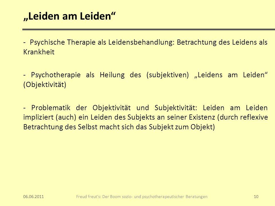 Leiden am Leiden - Psychische Therapie als Leidensbehandlung: Betrachtung des Leidens als Krankheit - Psychotherapie als Heilung des (subjektiven) Lei