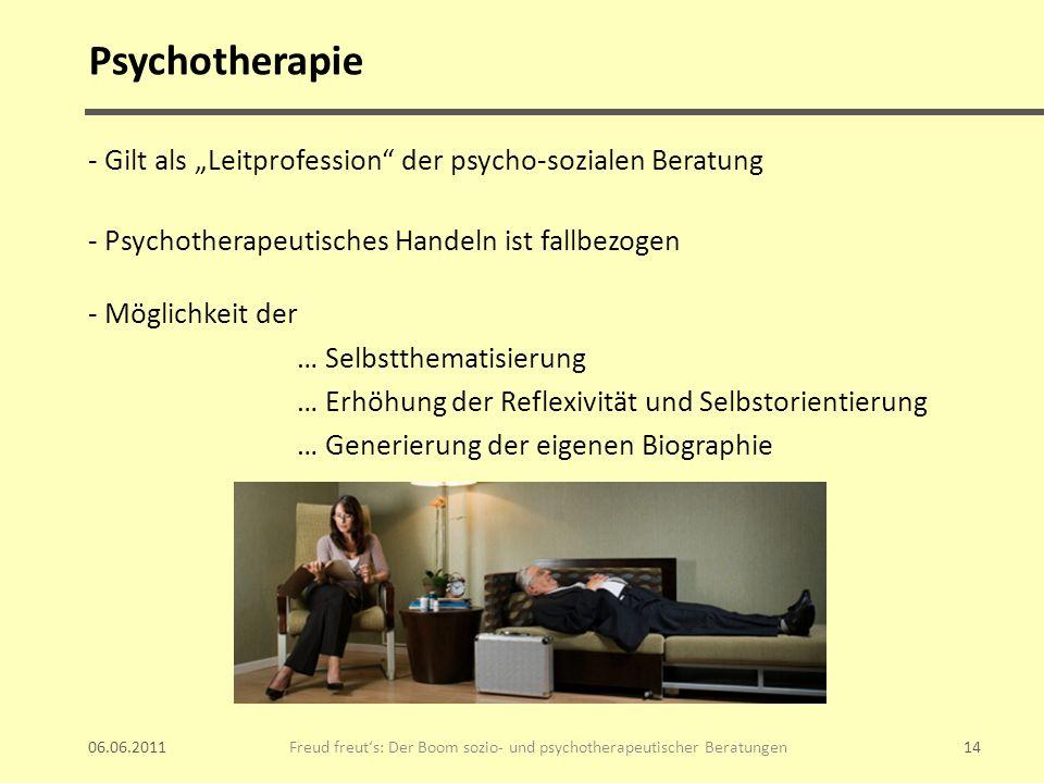 Psychotherapie - Gilt als Leitprofession der psycho-sozialen Beratung - Psychotherapeutisches Handeln ist fallbezogen - Möglichkeit der … Selbstthemat