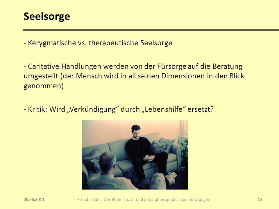 Seelsorge - Kerygmatische vs. therapeutische Seelsorge - Caritative Handlungen werden von der Fürsorge auf die Beratung umgestellt (der Mensch wird in