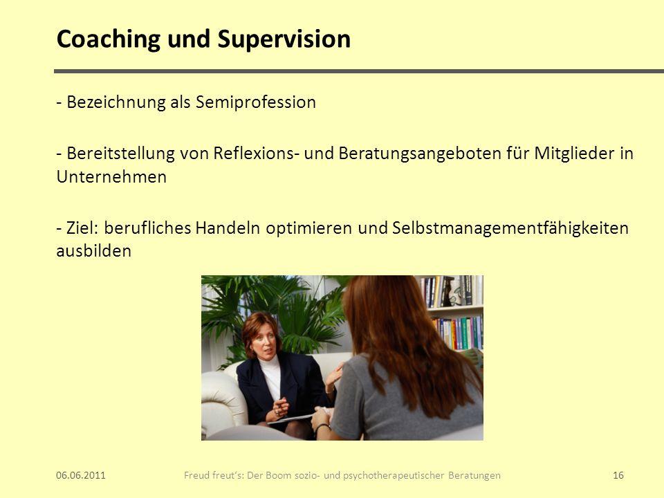 Coaching und Supervision - Bezeichnung als Semiprofession - Bereitstellung von Reflexions- und Beratungsangeboten für Mitglieder in Unternehmen - Ziel