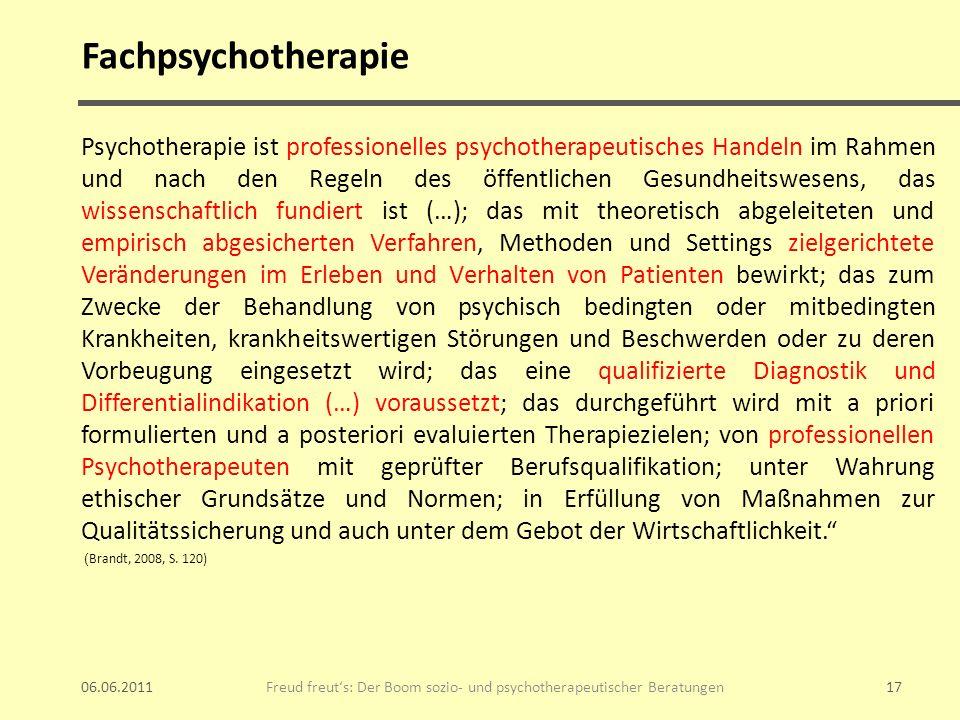 Fachpsychotherapie Psychotherapie ist professionelles psychotherapeutisches Handeln im Rahmen und nach den Regeln des öffentlichen Gesundheitswesens,