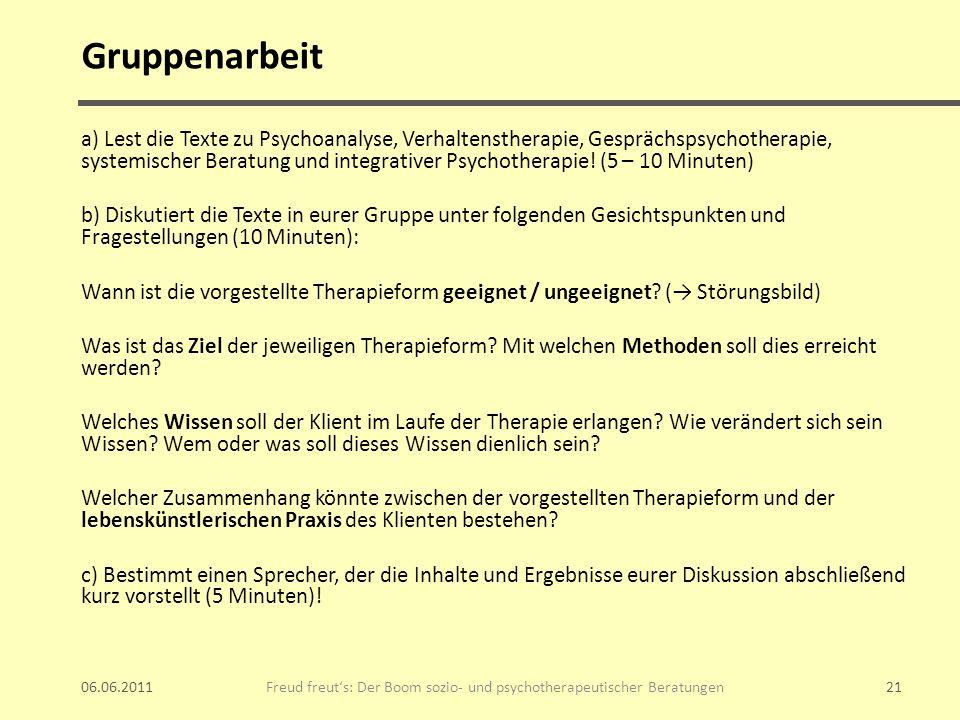 Gruppenarbeit a) Lest die Texte zu Psychoanalyse, Verhaltenstherapie, Gesprächspsychotherapie, systemischer Beratung und integrativer Psychotherapie!