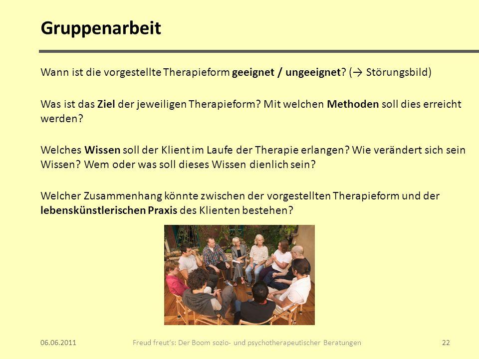 Gruppenarbeit Wann ist die vorgestellte Therapieform geeignet / ungeeignet? ( Störungsbild) Was ist das Ziel der jeweiligen Therapieform? Mit welchen