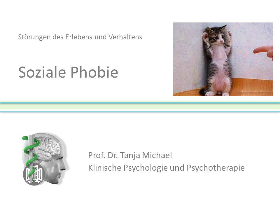 Vergleich der Hauptsymptome von Agoraphobie und Sozialer Phobie ItemSoziale Phobie (%)Agoraphobie (%)p < Erröten5121.001 Muskelzucken3721 (.07) Schwächegefühl in Gliedmassen4177.001 Atembeschwerden3060.001 Schwindel/Ohnmachtgefühl3968.01 Ohnmachtsanfall1025.05 Summen/klingeln in den Ohren1330.05 Herzklopfen7977 NS Verspannte Muskeln6467 NS trockene Kehle/Mund6165 NS flaues Gefühl im Magen6354 NS Übelkeit40 NS Zittern75 NS NS = nicht signifikant © Prof.