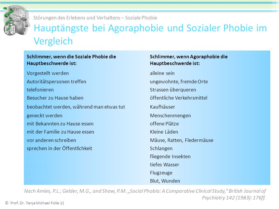 Hauptängste bei Agoraphobie und Sozialer Phobie im Vergleich Schlimmer, wenn die Soziale Phobie die Hauptbeschwerde ist: Schlimmer, wenn Agoraphobie d