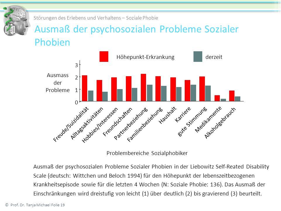 Ausmaß der psychosozialen Probleme Sozialer Phobien © Prof. Dr. Tanja Michael Folie 19 Störungen des Erlebens und Verhaltens – Soziale Phobie Ausmaß d