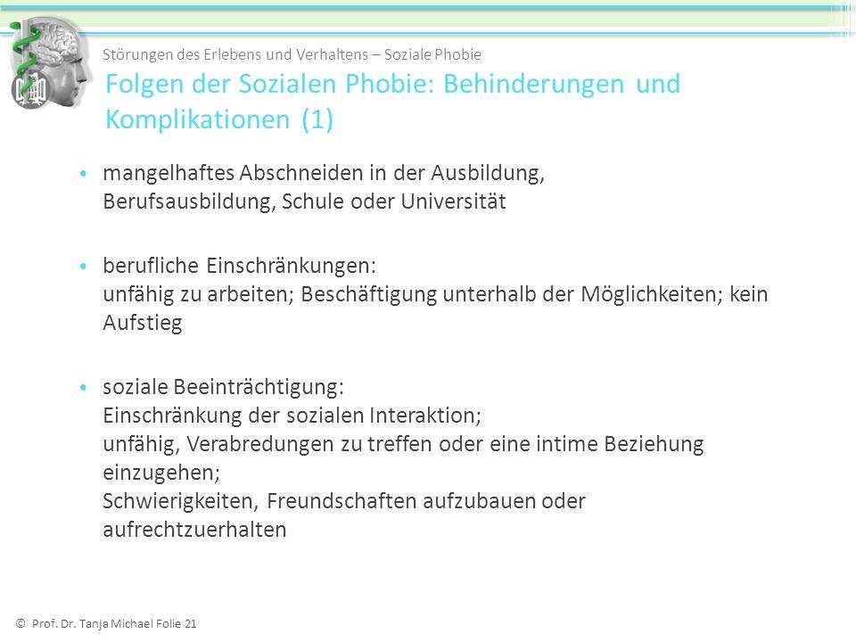 © Prof. Dr. Tanja Michael Folie 21 mangelhaftes Abschneiden in der Ausbildung, Berufsausbildung, Schule oder Universität berufliche Einschränkungen: u