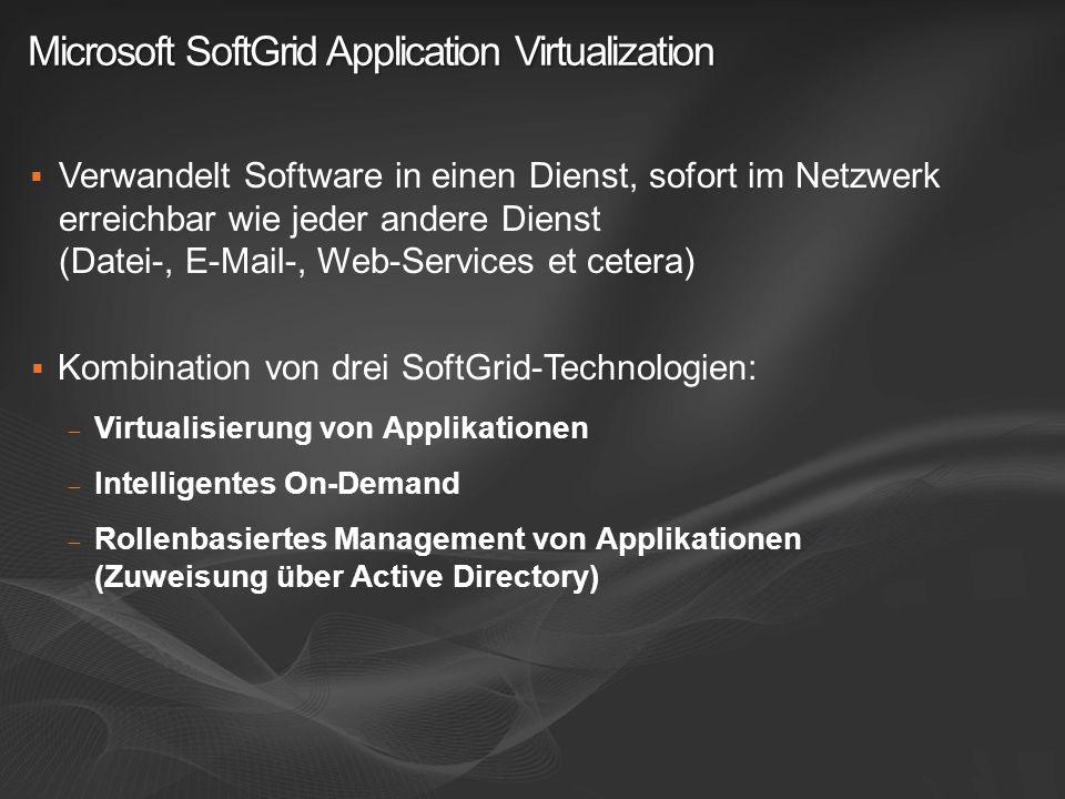 Microsoft SoftGrid Application Virtualization Verwandelt Software in einen Dienst, sofort im Netzwerk erreichbar wie jeder andere Dienst (Datei-, E-Ma