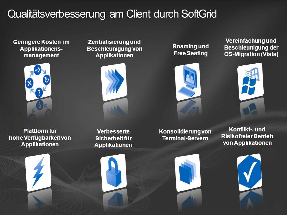 Qualitätsverbesserung am Client durch SoftGrid Zentralisierung und Beschleunigung von Applikationen Plattform für hohe Verfügbarkeit von Applikationen