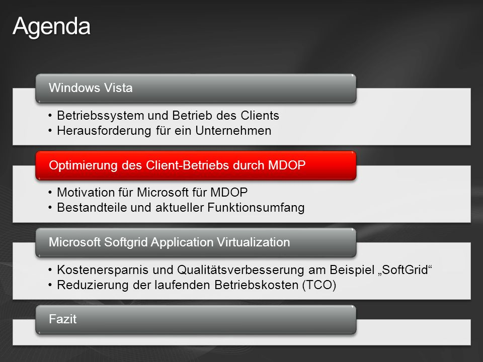 System Center Virtual Application Server (SoftGrid) System Center DEM Operations Manager 2007 Translating Software Inventory into Business Intelligence Enhancing Group Policy through Change Management Dynamically Streaming Software as a centrally managed Service Proactively Managing Application and Operating System Failures Powerful Tools to accelerate Desktop Repair Warnung: Applikation X ist defekt.