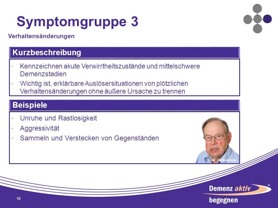 Symptomgruppe 3 10 Verhaltensänderungen Kurzbeschreibung Kennzeichnen akute Verwirrtheitszustände und mittelschwere Demenzstadien Wichtig ist, erklärb
