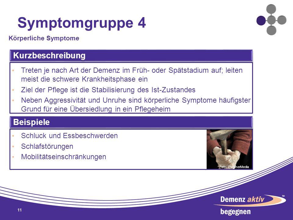 Symptomgruppe 4 11 Körperliche Symptome Kurzbeschreibung Treten je nach Art der Demenz im Früh- oder Spätstadium auf; leiten meist die schwere Krankhe