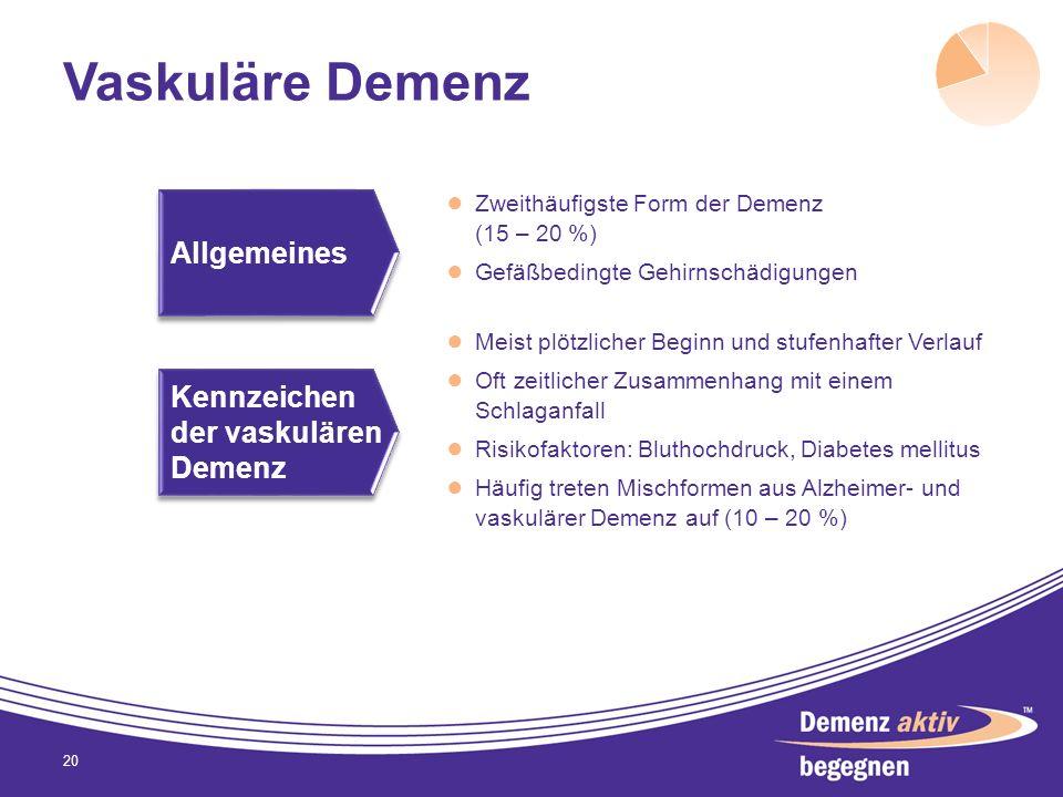 Vaskuläre Demenz Zweithäufigste Form der Demenz (15 – 20 %) Gefäßbedingte Gehirnschädigungen 20 Meist plötzlicher Beginn und stufenhafter Verlauf Oft