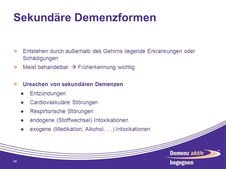 Sekundäre Demenzformen Entstehen durch außerhalb des Gehirns liegende Erkrankungen oder Schädigungen Meist behandelbar Früherkennung wichtig Ursachen