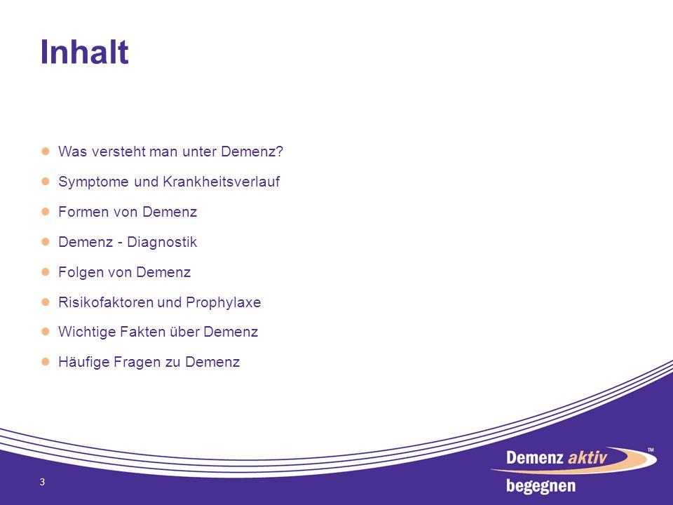 Inhalt Was versteht man unter Demenz? Symptome und Krankheitsverlauf Formen von Demenz Demenz - Diagnostik Folgen von Demenz Risikofaktoren und Prophy