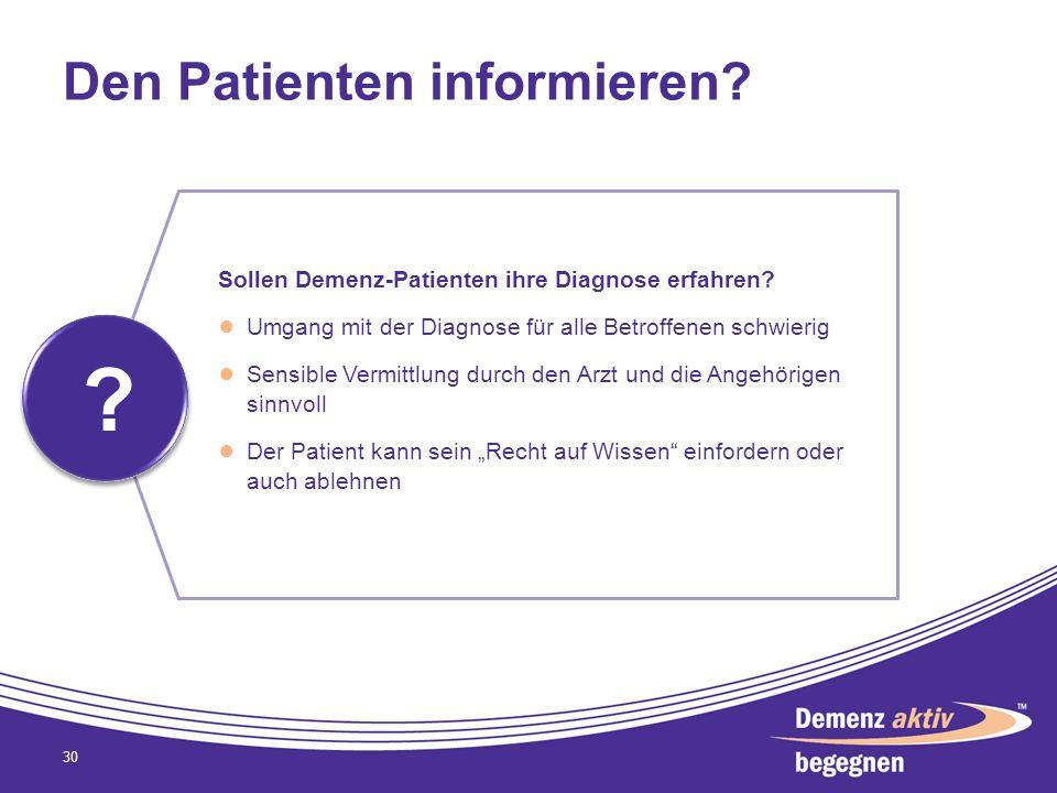Den Patienten informieren? 30 ? ? Sollen Demenz-Patienten ihre Diagnose erfahren? Umgang mit der Diagnose für alle Betroffenen schwierig Sensible Verm