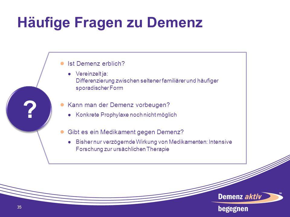 Häufige Fragen zu Demenz 35 ? ? Ist Demenz erblich? Vereinzelt ja: Differenzierung zwischen seltener familiärer und häufiger sporadischer Form Kann ma