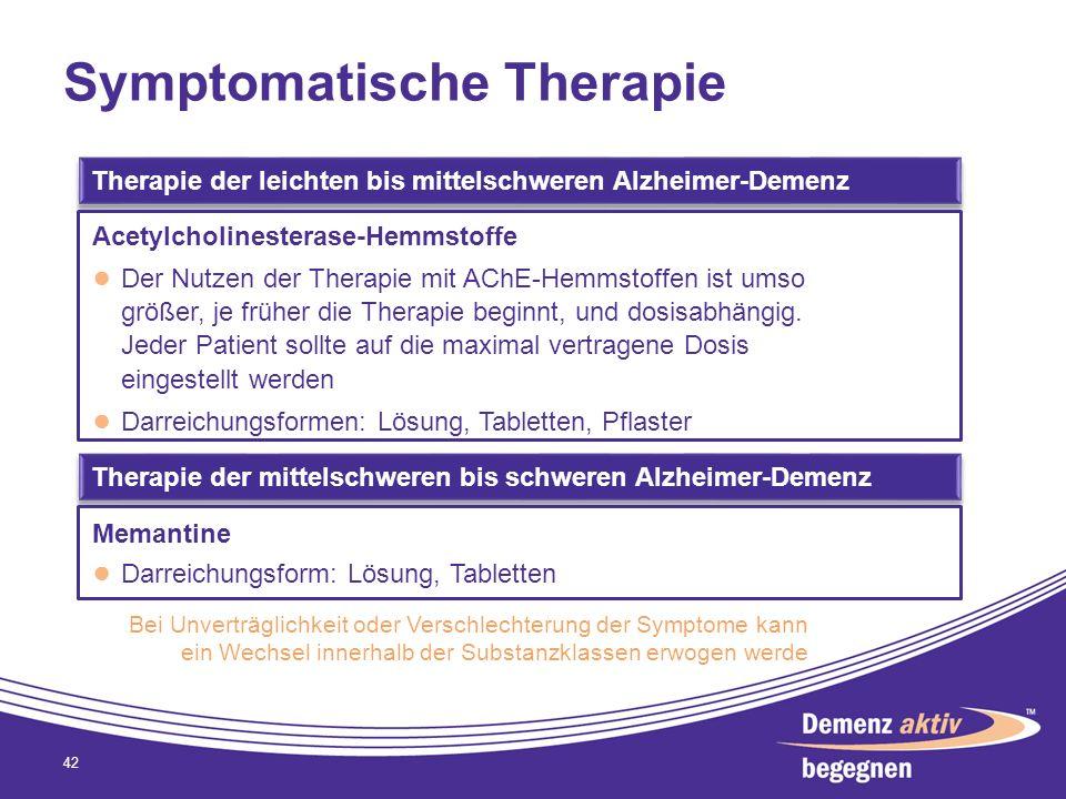 Symptomatische Therapie 42 Therapie der mittelschweren bis schweren Alzheimer-Demenz Therapie der leichten bis mittelschweren Alzheimer-Demenz Acetylc