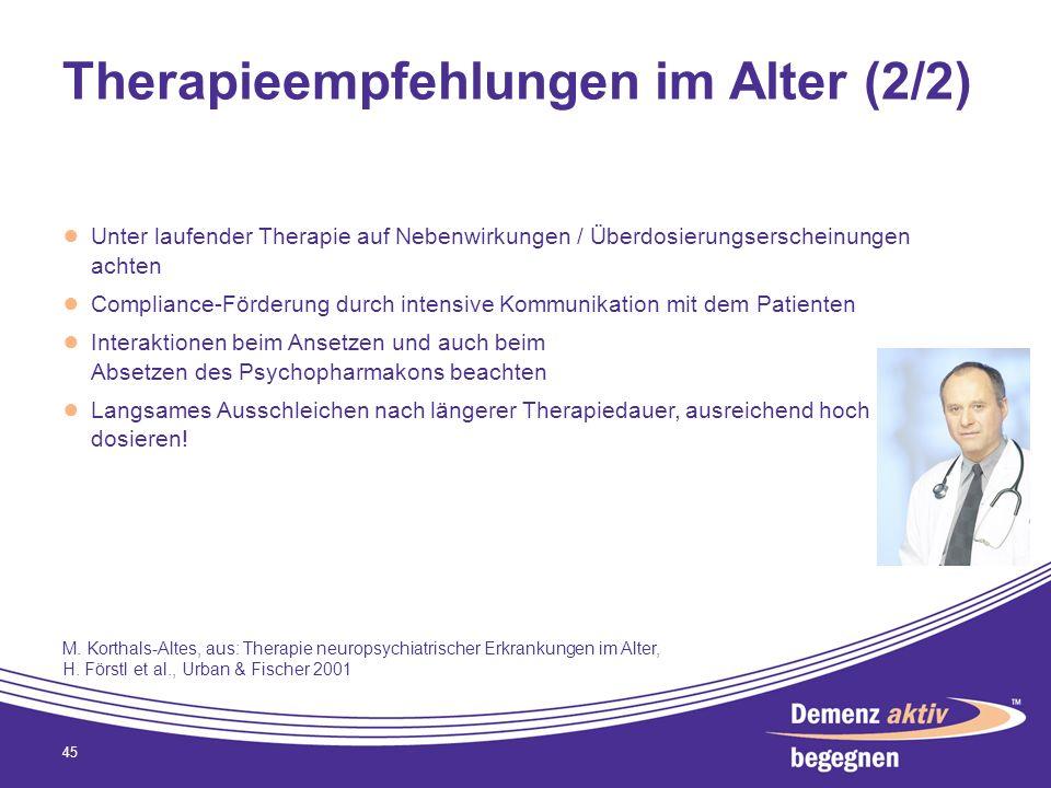 Therapieempfehlungen im Alter (2/2) Unter laufender Therapie auf Nebenwirkungen / Überdosierungserscheinungen achten Compliance-Förderung durch intens