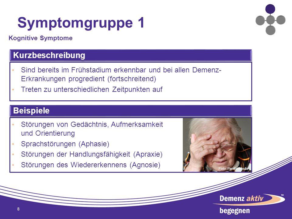 Symptomgruppe 1 8 Kognitive Symptome Kurzbeschreibung Sind bereits im Frühstadium erkennbar und bei allen Demenz- Erkrankungen progredient (fortschrei