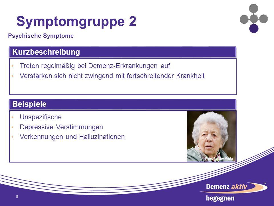 Symptomgruppe 2 9 Psychische Symptome Kurzbeschreibung Treten regelmäßig bei Demenz-Erkrankungen auf Verstärken sich nicht zwingend mit fortschreitend