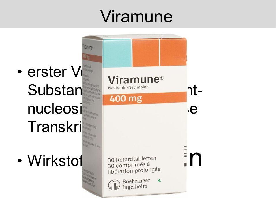 erster Vertreter der Substanzklasse der nicht- nucleosidischen-Reverse Transkriptase-Hemmer Wirkstoff: Nevirapin Viramune