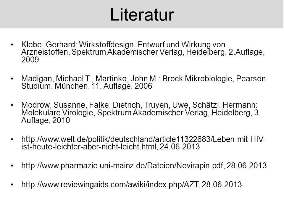Klebe, Gerhard: Wirkstoffdesign, Entwurf und Wirkung von Arzneistoffen, Spektrum Akademischer Verlag, Heidelberg, 2.Auflage, 2009 Madigan, Michael T.,