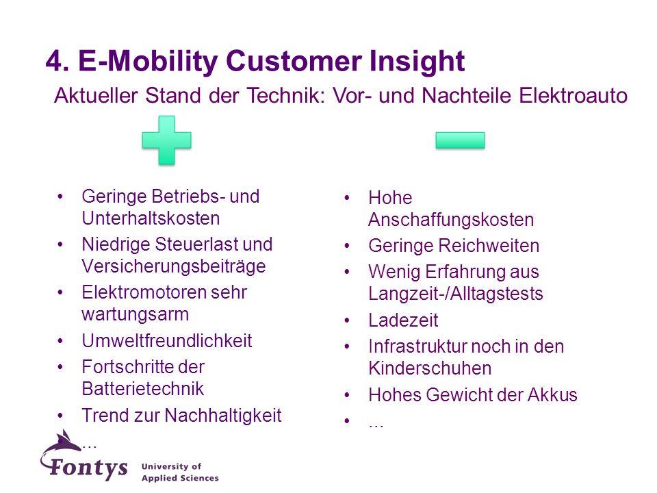 4. E-Mobility Customer Insight Aktueller Stand der Technik: Vor- und Nachteile Elektroauto Geringe Betriebs- und Unterhaltskosten Niedrige Steuerlast