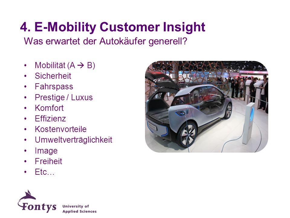 4. E-Mobility Customer Insight Was erwartet der Autokäufer generell? Mobilität (A B) Sicherheit Fahrspass Prestige / Luxus Komfort Effizienz Kostenvor