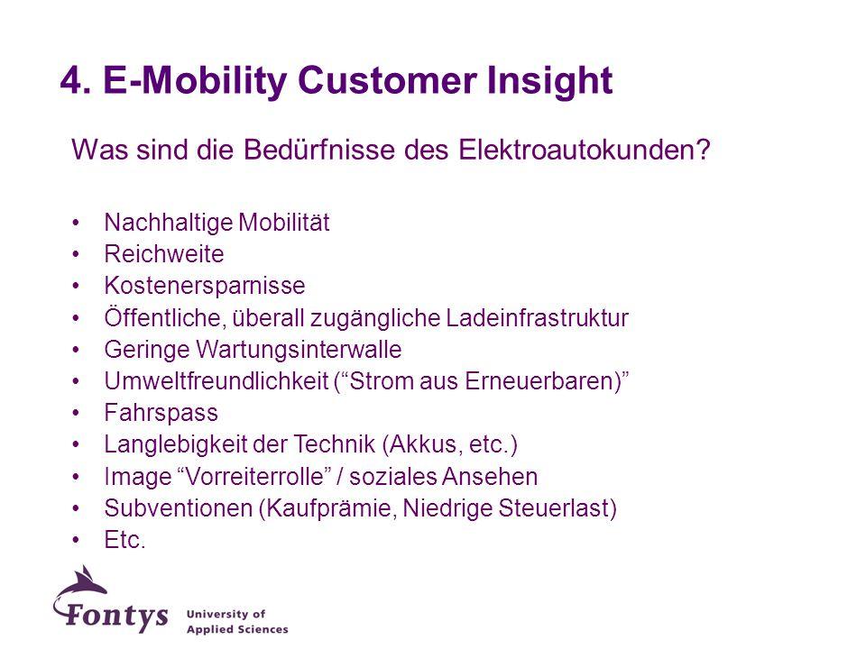 4. E-Mobility Customer Insight Was sind die Bedürfnisse des Elektroautokunden? Nachhaltige Mobilität Reichweite Kostenersparnisse Öffentliche, überall