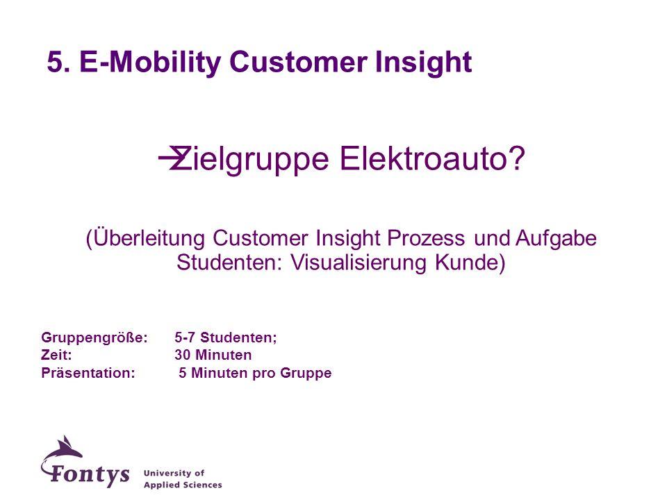 5. E-Mobility Customer Insight Zielgruppe Elektroauto? (Überleitung Customer Insight Prozess und Aufgabe Studenten: Visualisierung Kunde) Gruppengröße