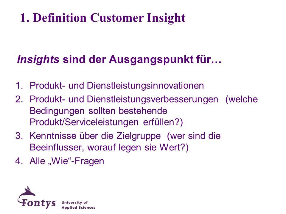 Insights sind der Ausgangspunkt für… 1.Produkt- und Dienstleistungsinnovationen 2.Produkt- und Dienstleistungsverbesserungen (welche Bedingungen sollt