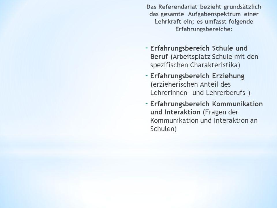 - Erfahrungsbereich Schule und Beruf (Arbeitsplatz Schule mit den spezifischen Charakteristika) - Erfahrungsbereich Erziehung (erzieherischen Anteil d