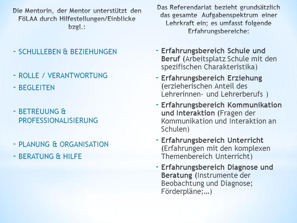 - SCHULLEBEN & BEZIEHUNGEN - ROLLE / VERANTWORTUNG - BEGLEITEN - BETREUUNG & PROFESSIONALISIERUNG - PLANUNG & ORGANISATION - BERATUNG & HILFE - Erfahr