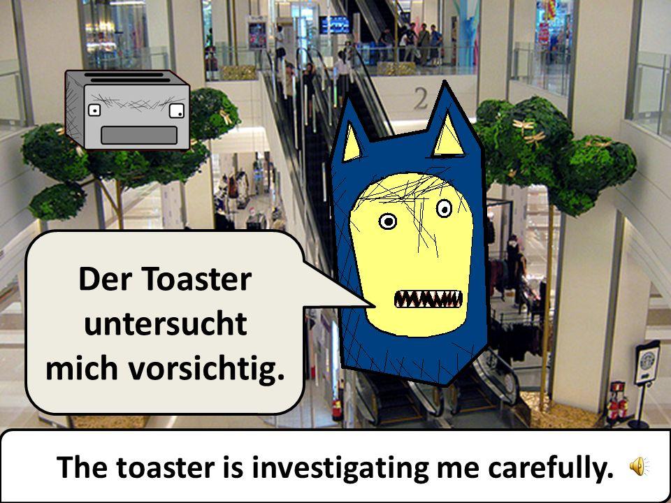 The toaster is investigating me carefully. Der Toaster untersucht mich vorsichtig.