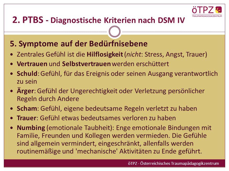 2.PTBS - Diagnostische Kriterien nach DSM IV 5.