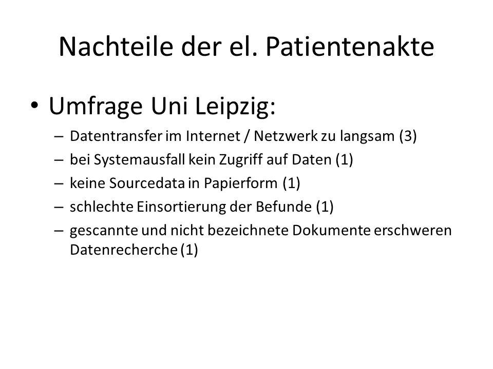 Nachteile der el. Patientenakte Umfrage Uni Leipzig: – Datentransfer im Internet / Netzwerk zu langsam (3) – bei Systemausfall kein Zugriff auf Daten