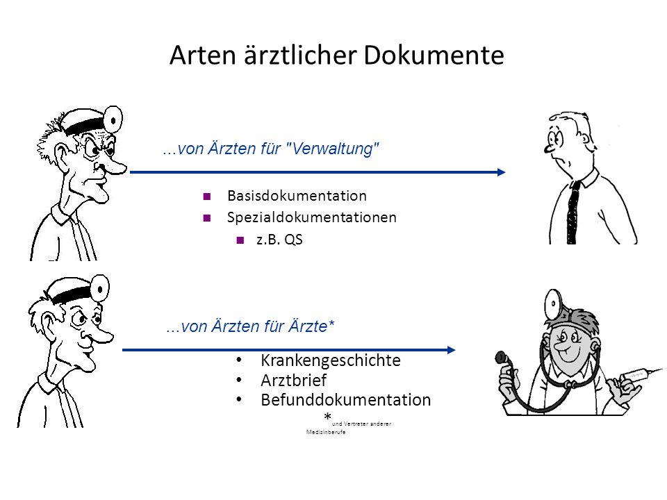 Krankengeschichte Arztbrief Befunddokumentation * und Vertreter anderer Medizinberufe...von Ärzten für Ärzte* Basisdokumentation Spezialdokumentatione