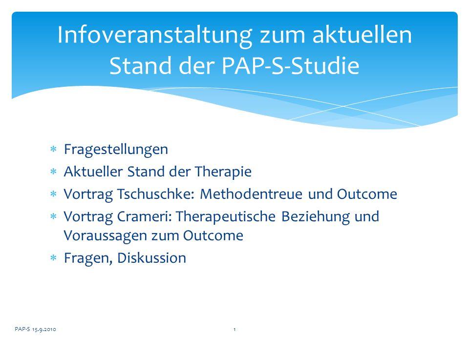 Fragestellungen Aktueller Stand der Therapie Vortrag Tschuschke: Methodentreue und Outcome Vortrag Crameri: Therapeutische Beziehung und Voraussagen z