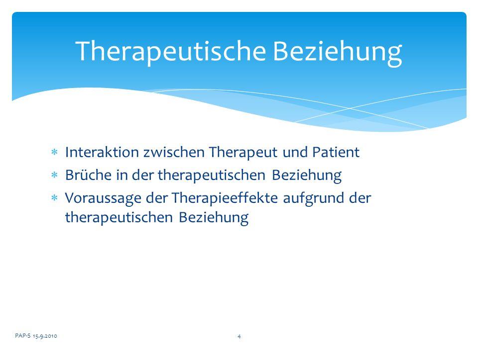 Interaktion zwischen Therapeut und Patient Brüche in der therapeutischen Beziehung Voraussage der Therapieeffekte aufgrund der therapeutischen Beziehu