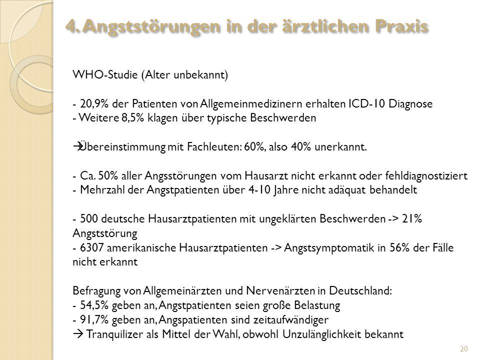 WHO-Studie (Alter unbekannt) - 20,9% der Patienten von Allgemeinmedizinern erhalten ICD-10 Diagnose - Weitere 8,5% klagen über typische Beschwerden Üb