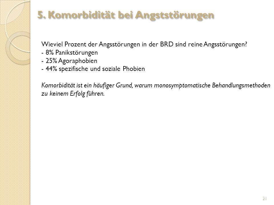 Wieviel Prozent der Angsstörungen in der BRD sind reine Angsstörungen? - 8% Panikstörungen - 25% Agoraphobien - 44% spezifische und soziale Phobien Ko