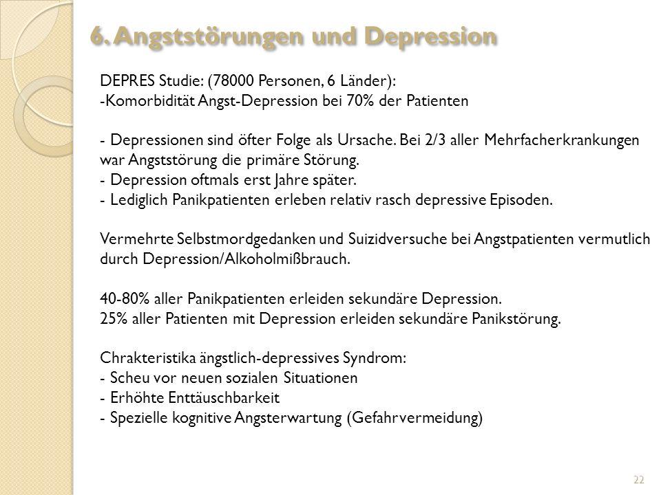 DEPRES Studie: (78000 Personen, 6 Länder): -Komorbidität Angst-Depression bei 70% der Patienten - Depressionen sind öfter Folge als Ursache. Bei 2/3 a