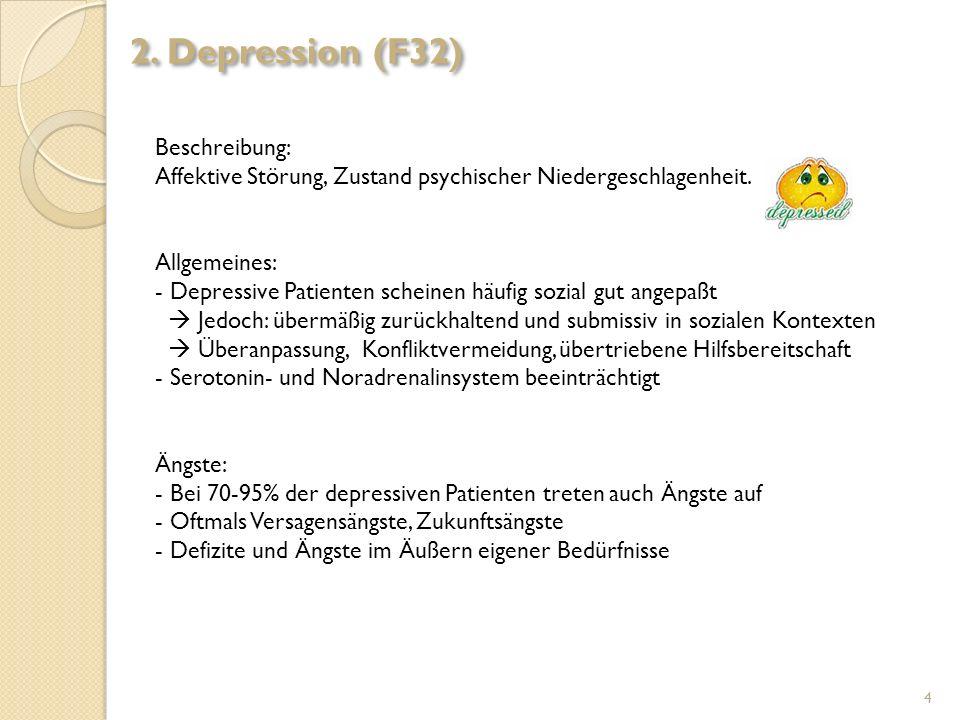 Beschreibung: Affektive Störung, Zustand psychischer Niedergeschlagenheit. Allgemeines: - Depressive Patienten scheinen häufig sozial gut angepaßt Jed