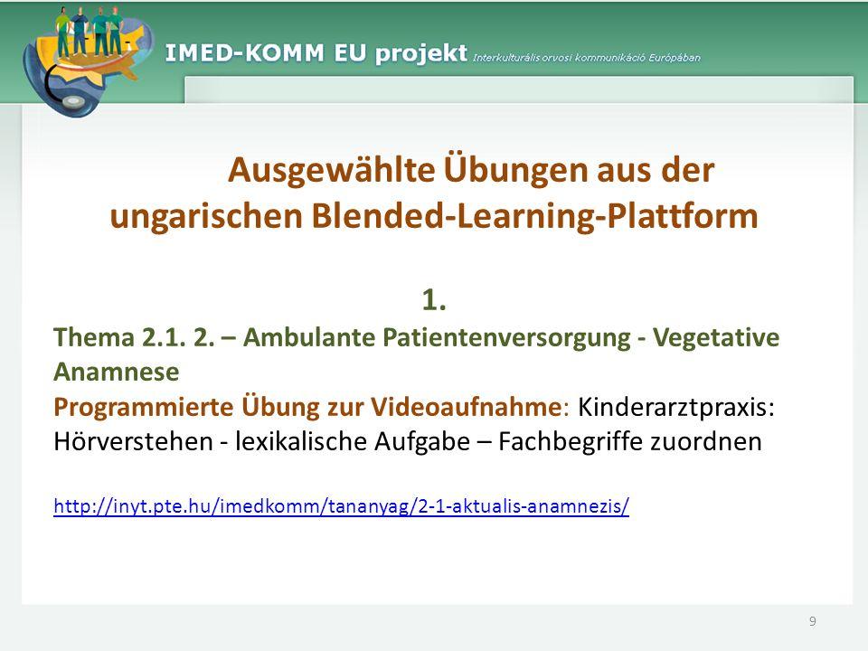 Ausgewählte Übungen aus der ungarischen Blended-Learning-Plattform 1. Thema 2.1. 2. – Ambulante Patientenversorgung - Vegetative Anamnese Programmiert