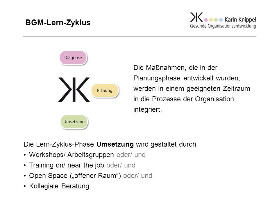 BGM-Lern-Zyklus Die Maßnahmen, die in der Planungsphase entwickelt wurden, werden in einem geeigneten Zeitraum in die Prozesse der Organisation integr